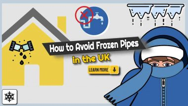 """Image text: """"How to avoid frozen pipes UK""""."""